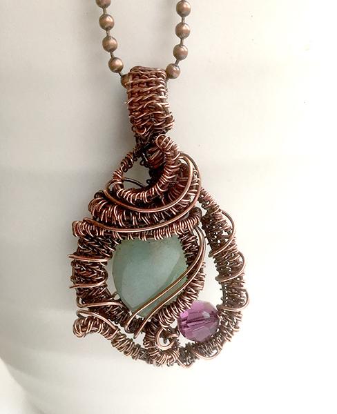 Wire woven copper aventurine and swarovski pendant aloadofball Image collections