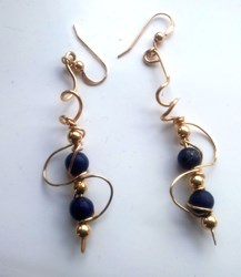 14 k Gold Filled Lapis Lazuli Spiral Drop Earrings