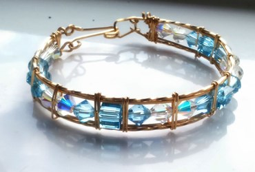 14k Gold Filled Swarovski Blue Crystal Bracelet