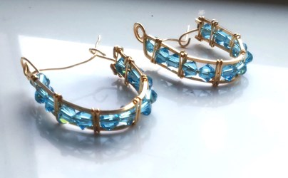14k Gold Filled Swarovski Blue Crystal Hoop Earrings