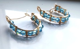 gold filled blue crystal earrings