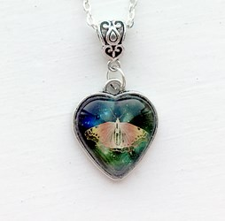 Antique Silver Butterfly Heart Necklace