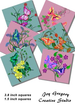 Coaster Images  Watercolour Butterflies - Dusky Pink and Green - 3.8 x 3.8 Inches