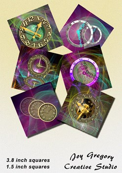 Steampunk Coaster Images Clocks Collection 2 - 3.8 x 3.8 inches