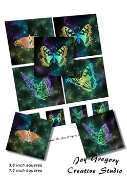 Coaster Images Butterflies Star Field 3.8 x 3.8 Inches