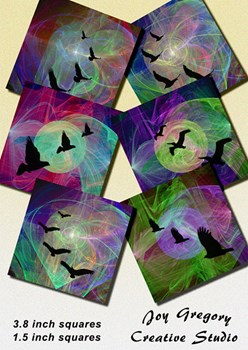 Coaster Images Fractal Birds 3.8 x 3.8 Inches