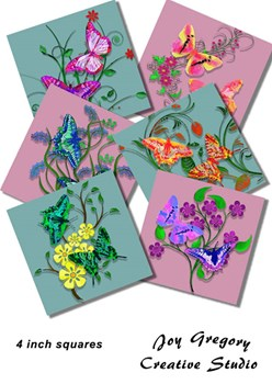 Coaster Images Watercolour Butterflies Dusky Pink and Green 4 inch