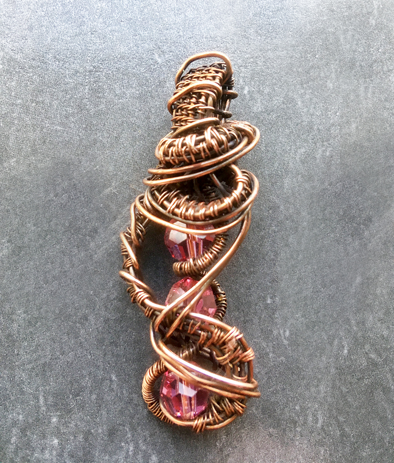 Pink Crystal Copper Weave Twist Pendant