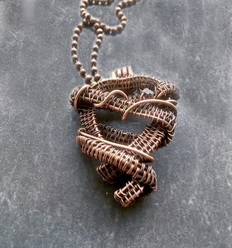 Rustic Copper Wire Weave Heart Necklace