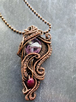 Large Copper Wire Weave Pendant with Handmade Lampwork Bead