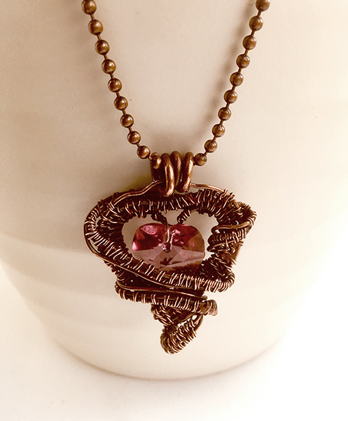 Pink Crystal Copper Heart Pendant