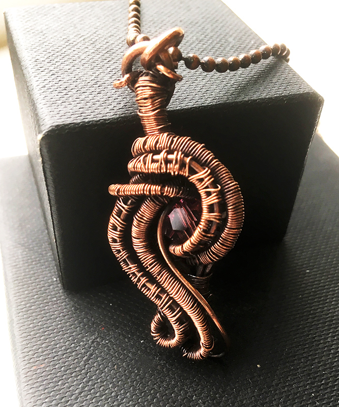 Copper Wire Weave Twist Pendant With Pink Swarovski Crystal