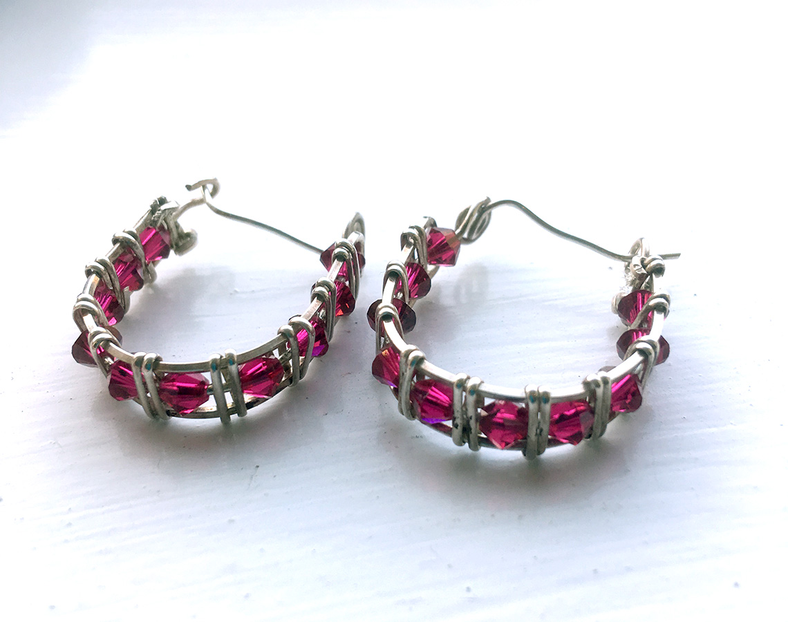 Red Swarovski Crystal Hoop Earrings Sterling Silver