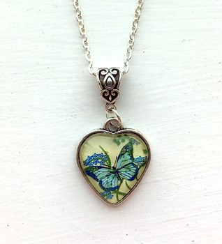 Green Butterfly Heart Pendant