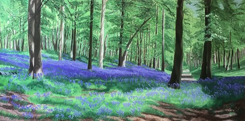 Commissioned painting of bluebell woods
