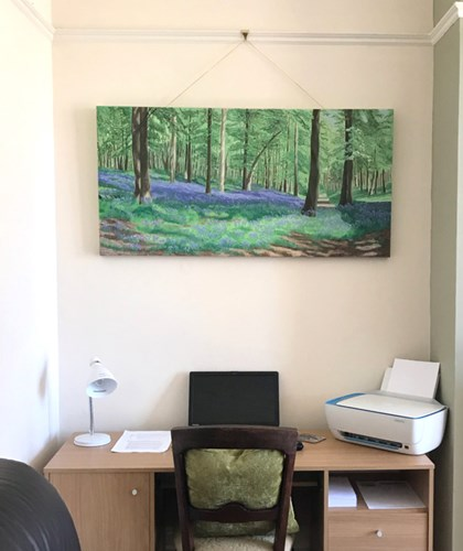 commissioned oil painting bluebell woods