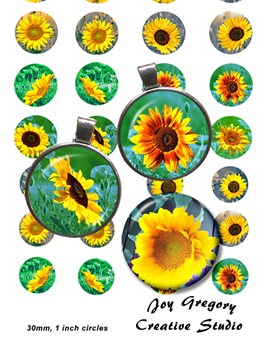 Sunflowers 1inch and 30 mm circles
