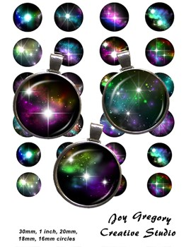 Galaxy - Space - Stars Images 1 inch, 30mm, 20mm, 18mm Circles