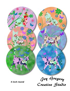 Coaster Images 4 inch Round Colourful Cats