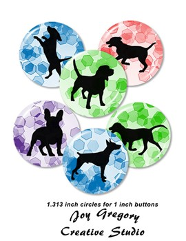1 inch Button Images Dog Silhouettes