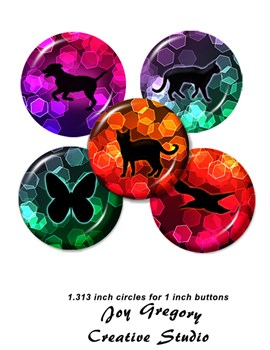 1 inch Button Images Dogs Cats Birds Butterflies