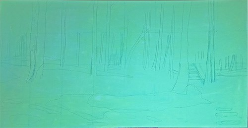 Painting Bluebell Woods - stage 1