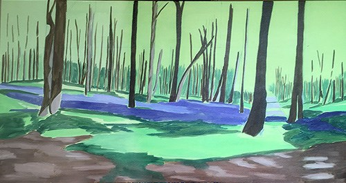 Painting Bluebell Woods - Blocking In