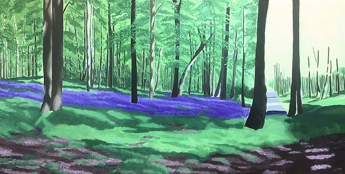 Painting Bluebell Wood - Background Trees