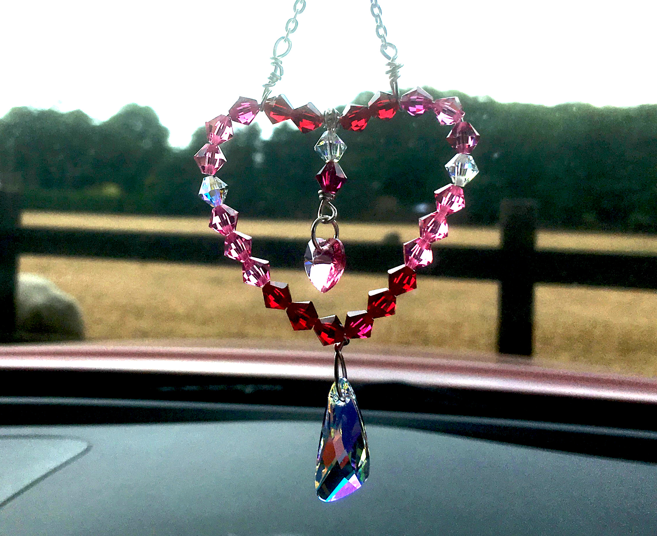 Pink Heart Swarovski Crystal Car Mirror Charm