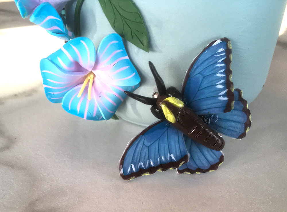 Blue Morpho Butterfly Brooch