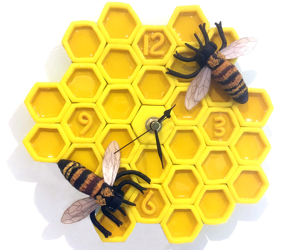 Bees and Honeycomb Clock