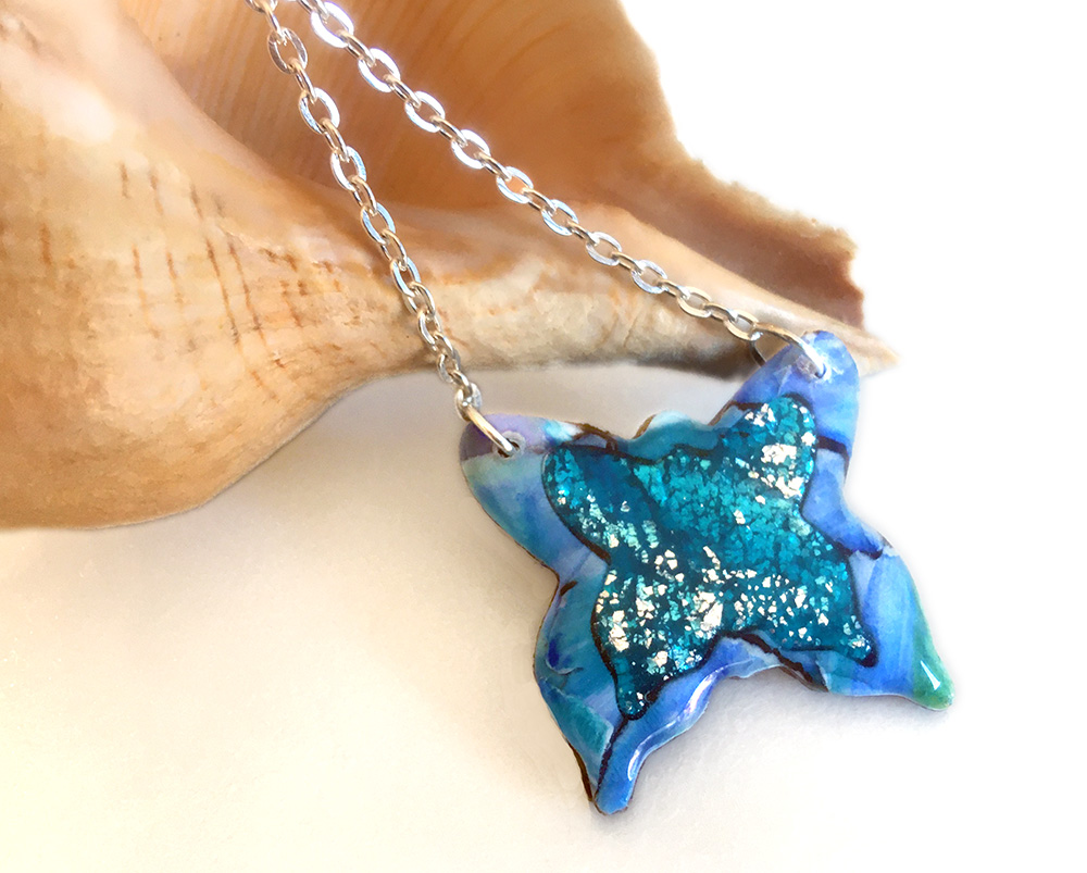 Sparkly Blue Turquoise Butterfly Necklace