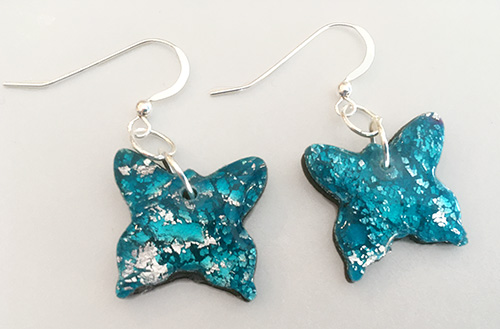 Sparkly Blue Butterfly Earrings