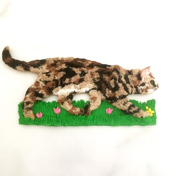 Tabby Cat 3D Wall Sculpture