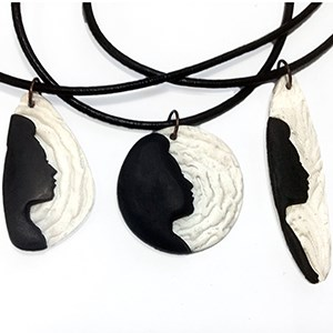 Black and White Silhouette PendantNecklaces