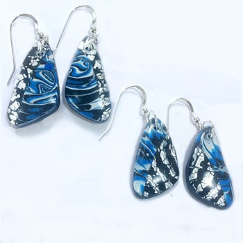 Blue, Black and Silver Drop Earrings