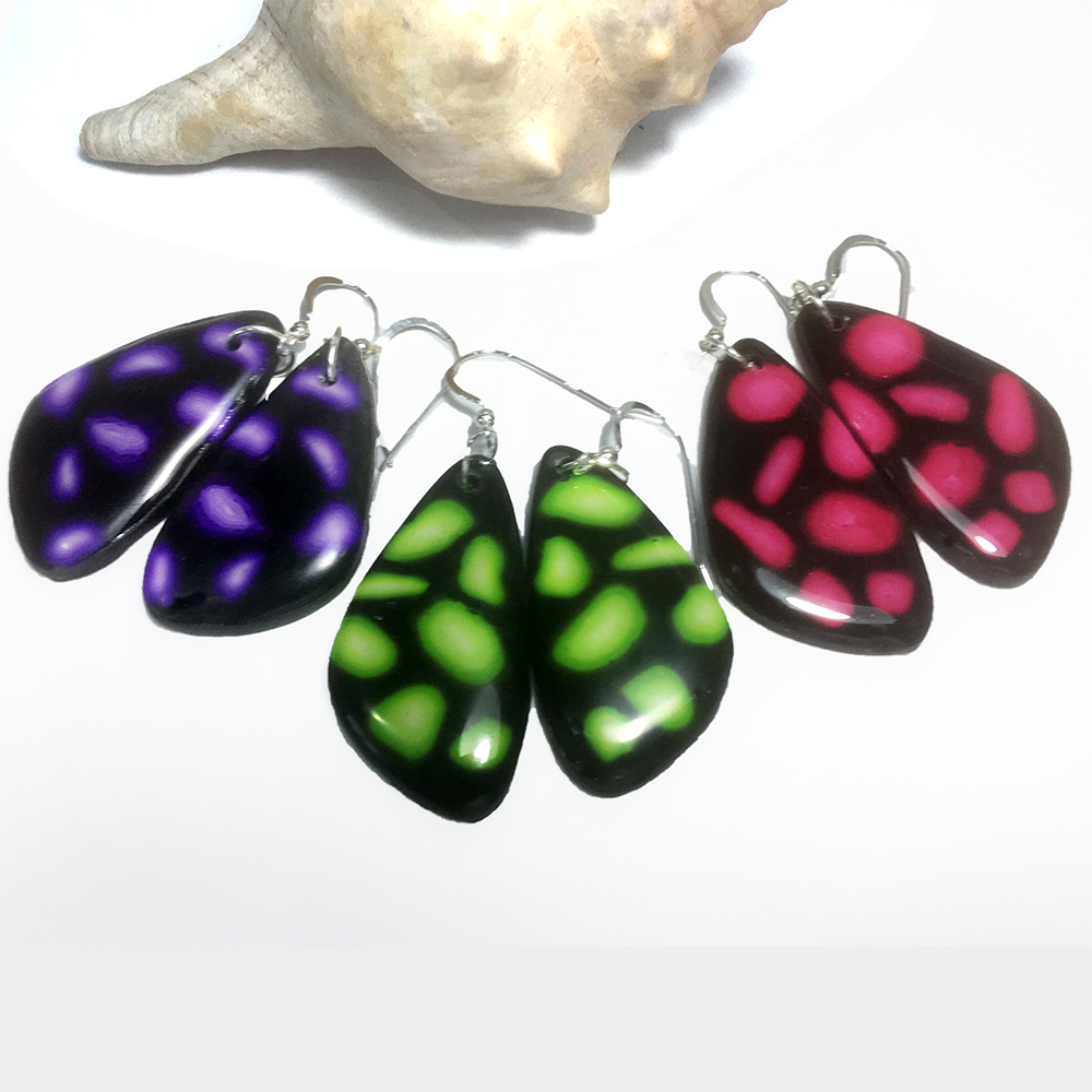 Black and Pink, Green or Purple Drop Earrings