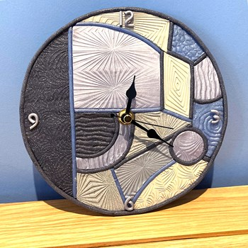 Geometric Wall Clock - Small, Grey and Blue