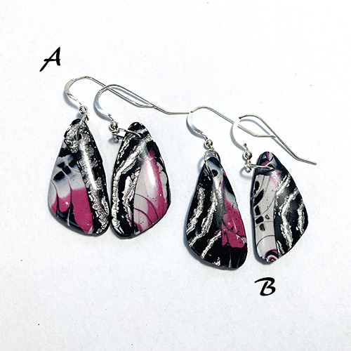 Pink Black and Silver Drop Earrings