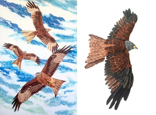 Red Kites Painting and sculpture